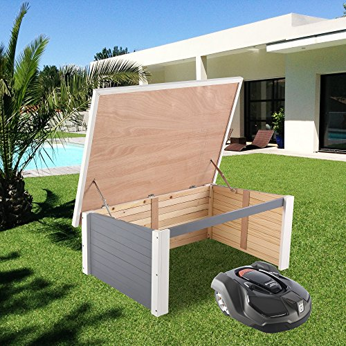 ZELSIUS Holzgarage für Rasenmäher Roboter, Garage aus Holz für Mähroboter, Rasenmäherrobotergarage, Mährobotergarage, Carport für Rasenroboter (grau) - 6