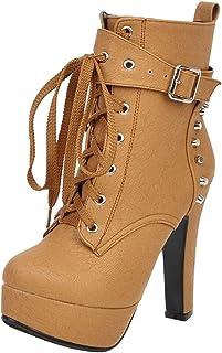BeiaMina Mujer Moda Martin Botas Heels con Plataforma