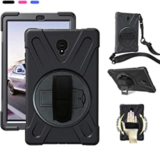 Galaxy Tab A 10.5 Heavy Duty/Carrying Case, Impact Resistance Dropproof Rugged Cover,with 360 Degree Rotating Bracket Handle Hand Strap Shoulder Strap,for Samsung SM-T590/T595/T597 2018 - Black