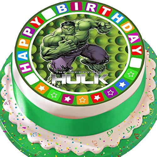 vorgeschnittene Kuchendekoration, Essbarer Zuckerguss, 19,1cm, rund, Design: Der unglaubliche Hulk, mit Sternenrand