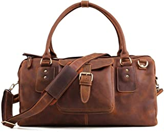 Crazy Horse Travel Bag Minimalist Mens Genuine Leather Travel Travel, Leisure, Business Trip Bags (Color : Brown, Size : S)