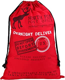 Extra Large 39x27 inches Drawstring Santa Sack   Personalized Jumbo Santa Bags for Storing Christmas Gifts, Holiday Presents, Stocking Stuffers or Decorations