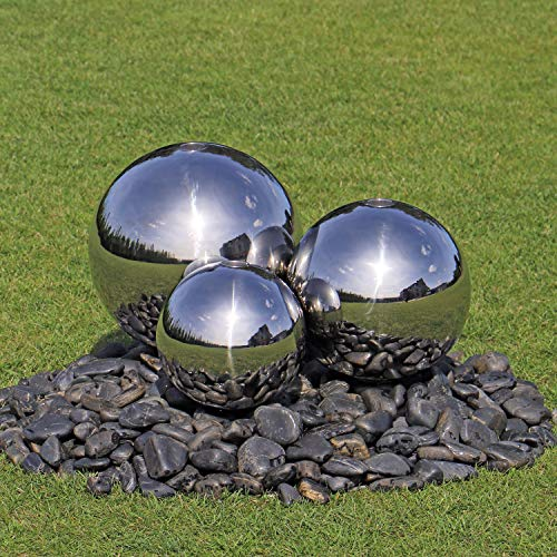 3 Kugeln aus Edelstahl für Springbrunnen 3er Set Edelstahlkugeln poliert Garten Brunnen Dekoration