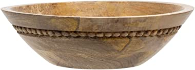 Foreside Home and Garden Natural Carved Bead Wood Serving Bowl, 4, Brown