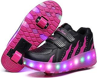 BY0NE LED Light up Roller Skate Shoes Double Wheel Flashing Sneakers for Boys Girls Kids