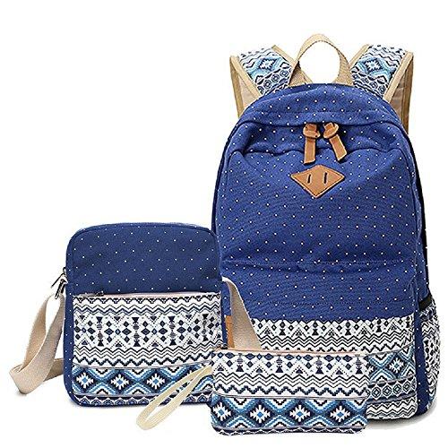 Mochila escolar, mochila 3 en 1 de lona para ocio, mochila + bolso + bandolera para adolescente, estudiante e ideal para la escuela, ocio, viajes, senderismo, etc. (Azul)
