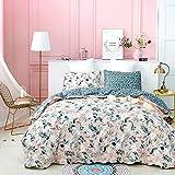 Jumeey Pink Boho Duvet Cover Queen Floral Bedding Sets Full Cotton Girls Women Peach Blossom Bohemian Bedding Queen Rustic Duvet Covers Green Leaf Flower Duvet Cover Full