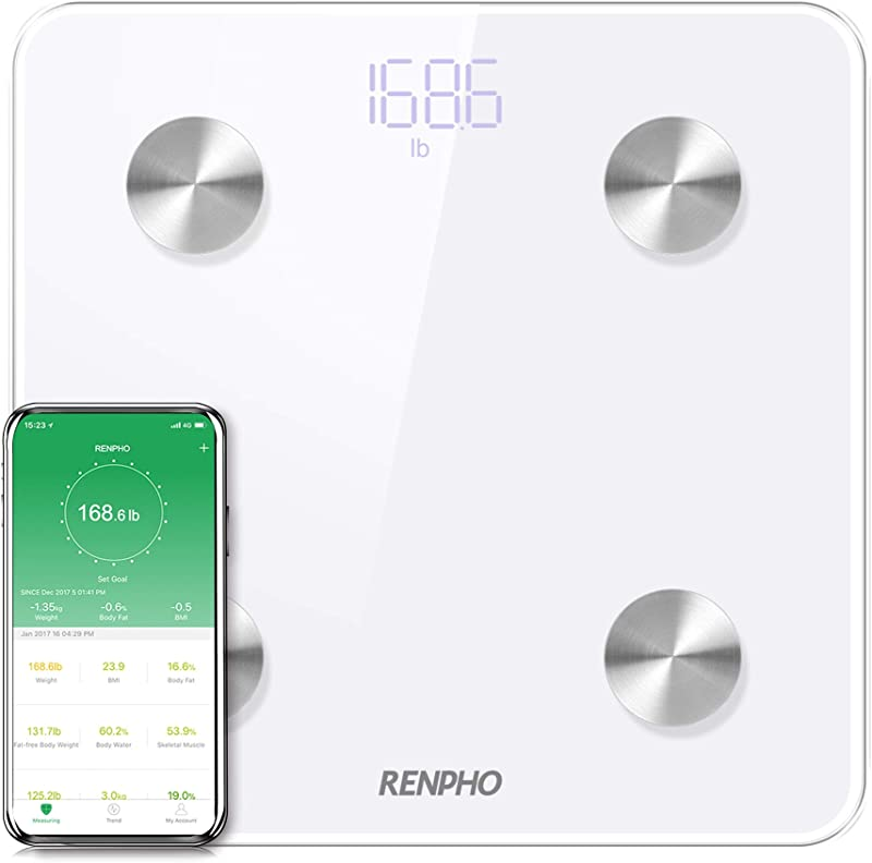 RENPHO Bluetooth Body Fat Scale Smart Digital Bathroom Weight BMI Scale Body Composition Monitor Analyzer With Smartphone App 396 Lbs White