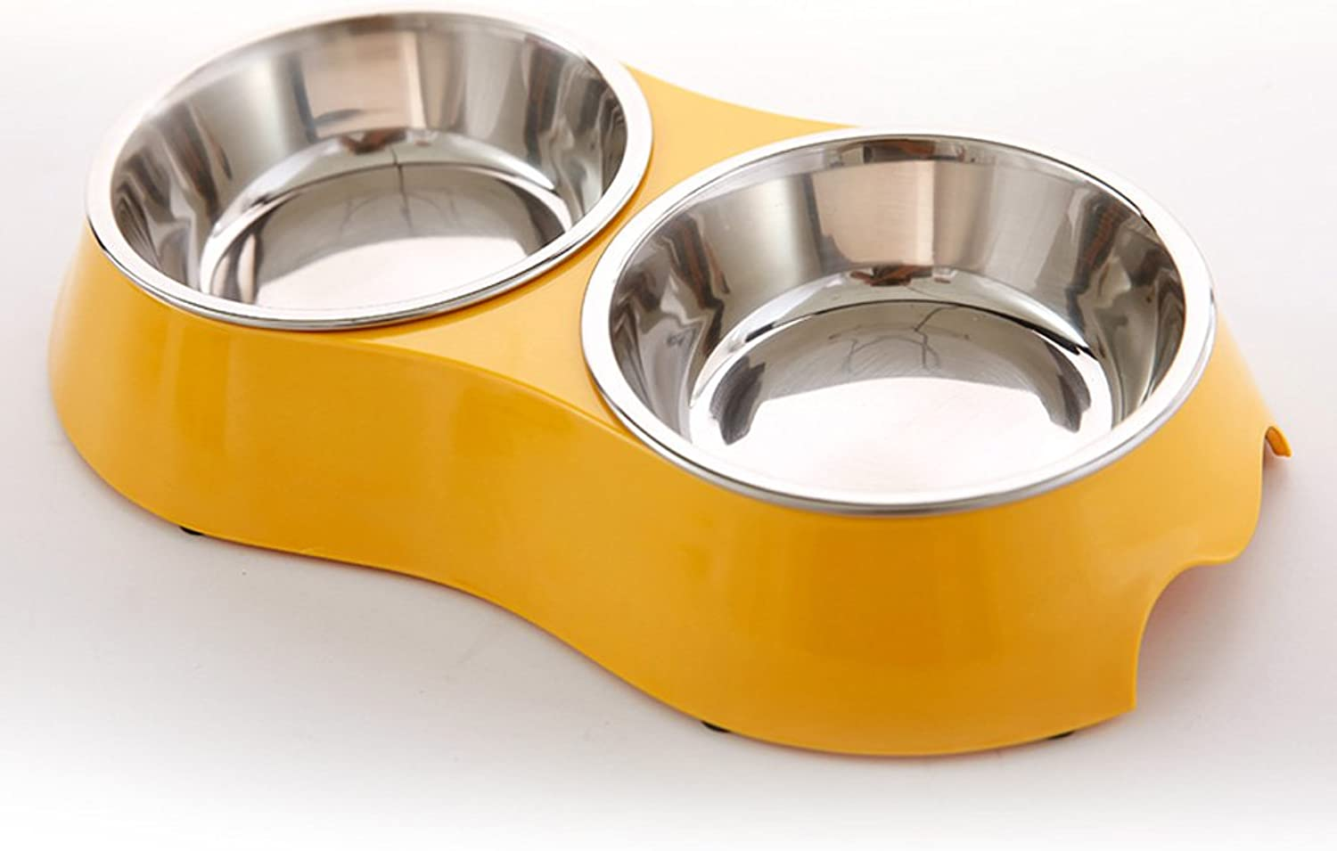 CKH Stainless Steel Dog Bowl Pet Bowls Cats And Dogs Food Bowl Dog Supplies Cats Bowls Cats And Dogs Single Double Bowls Pet Supplies (color   Yellow)