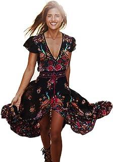OIKAY Rock Boho Kleid Damen Sommer böhmischen Tunika Rock Floral Party Lange Maxi Kleid Strand Sommerkleid
