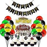 Suministros para fiesta de cumpleaños de My Hero Academia: 40 globos / 50 adornos para cupcakes / 1 adorno para tarta de feliz cumpleaños / 1 pancarta para fanáticos de MHA