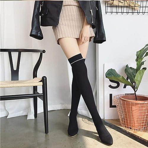 Adultsys Stiefel de Club Nocturno Calcetines de Punto Elástico Stiefel sobre la Rodilla Puntiagudas con Calcetines de Tacón Alto Stiefel Stiefel para damen