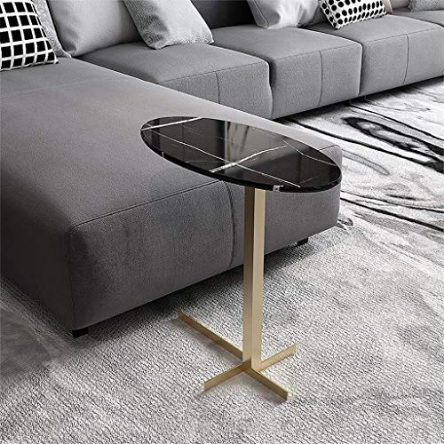 Machinery Parts Accent Cocktail Table Snack Table Sofa Couch Coffee End Table Bed Side Table Laptop Desk Modern for Home Mid Century Modern Round Coffee Table Marble Top Metal Base (Color : Black g