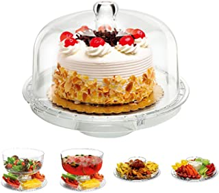 6 In 1 Cake Stand, Alotpower Multifunctional Acrylic Cake Stand Serving Platter Salad Plate Dessert Fruit Stand with Removal Dome Lid