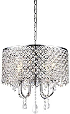 """Whse of Tiffany RL5633 Deluxe Crystal Chandelier, 9"""" x 17"""" x 17"""", Silver"""