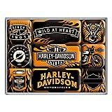 Nostalgic-Art Juego de Imanes Retro Harley Davidson Heart – Regalo para Motociclistas, Decoración para la Nevera, Diseño Vintage, 9 Unidades