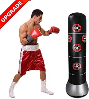 GEMGO Fitness Punching Bag, Heavy Punching Bag Kick Inflatable Free-Standing Fitness Target Stand Tower Bag, MMA Boxing Punching Kick Training Tumbler Bop Bag for Relieving Pressure