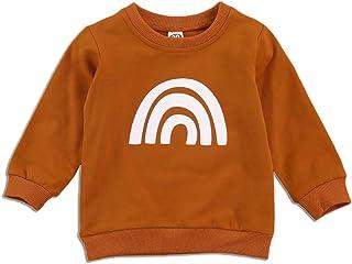 Niños Niña Chico Suéter Tipo Jersey de algodón Sudadera de Manga Larga con Cuello Redondo y arcoíris Otoño Invierno Camisa...