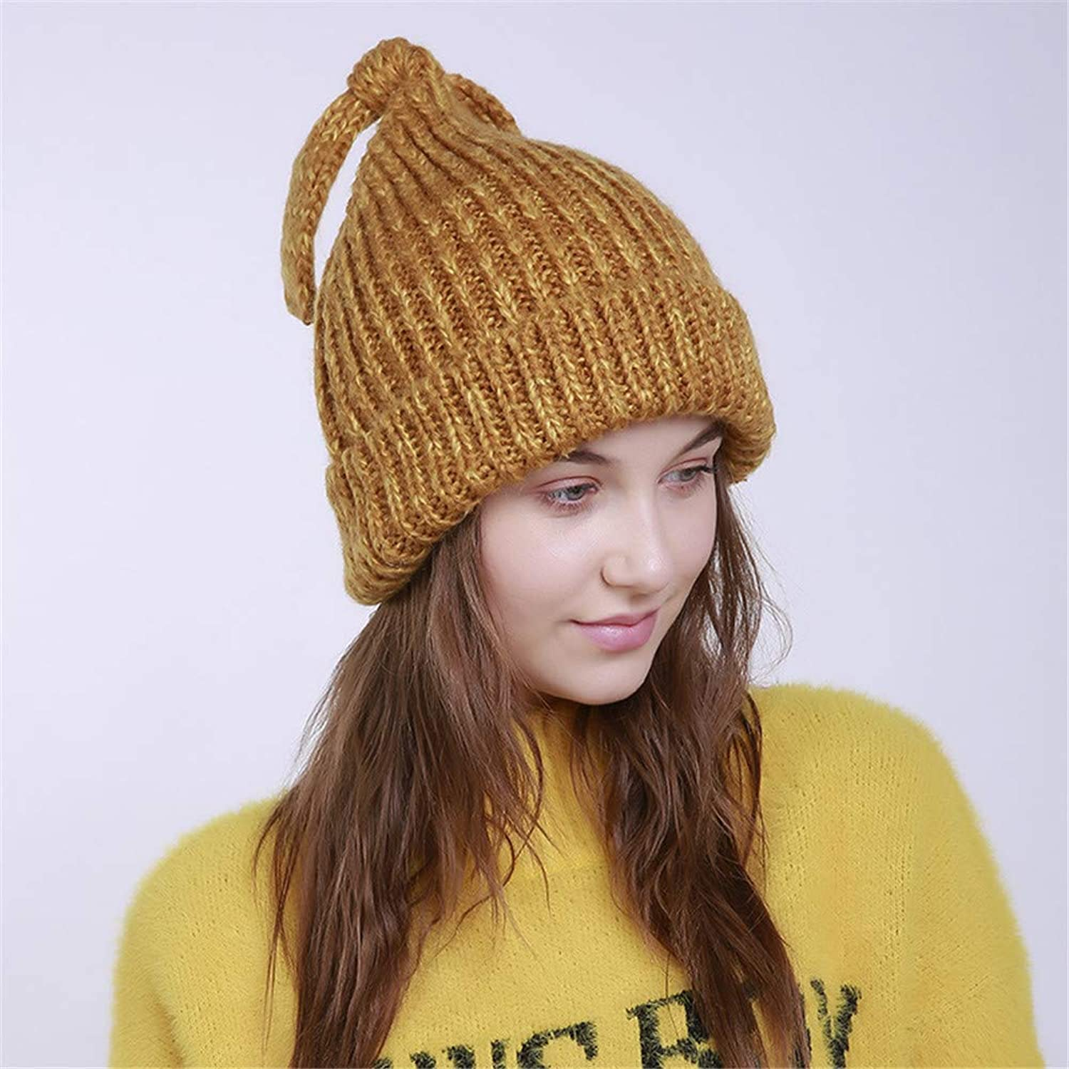 Rabbit Ear Womens Winter Knitting Wool Warm Hat Daily Slouchy Hats Fashion