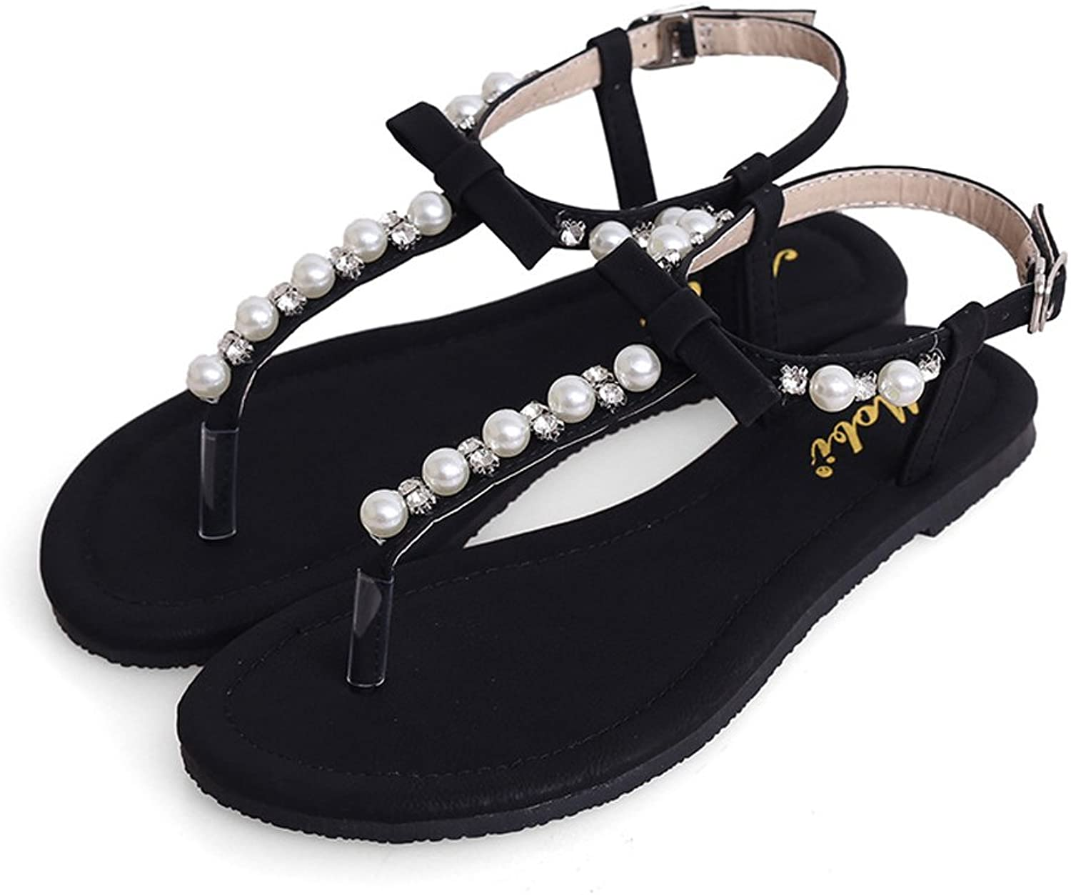 Mobnau Women's Leather Pearls Sandals Thong Sandles