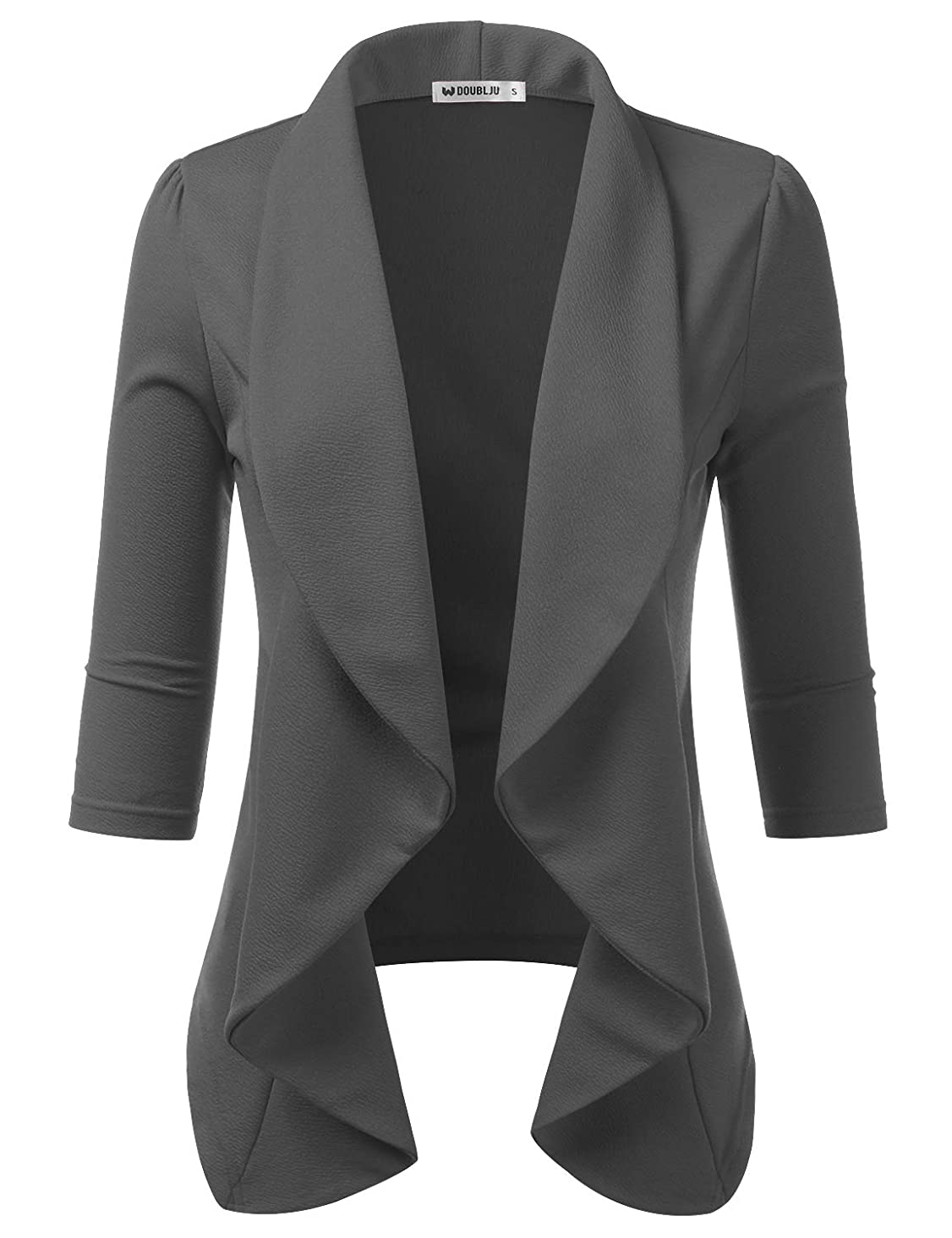 Doublju Womens Lightweight Thin 3/4 Sleeve Open Front Blazer with Plus Size