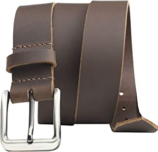 Roan Mountain Leather Belt - Nickel Smart - Brown Genuine Full Grain Leather Belt with Nickel Free Buckle