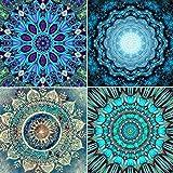 Juego de 4 kits de pintura de diamantes 5D para bricolaje, herramientas de pintura con mandala, flores y diamantes de imitación, cuadros coloridos, decoración de pared para sala de estar 25 x 25 cm