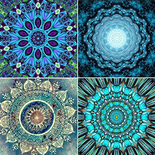 4er-Pack Diamant-Malerei-Kits 5D DIY Malerei Werkzeuge Set Mandala Blume Strass Diamant Stickerei Bilder Bunte Wanddekoration für Wohnzimmer Kunst Handwerk Zubehör 25 x 25 cm