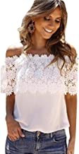 Women's Lace Tops - Limsea 2019 Casual Spring Summer White Hollow Out Cold Shoulder Long Sleeve Crochet