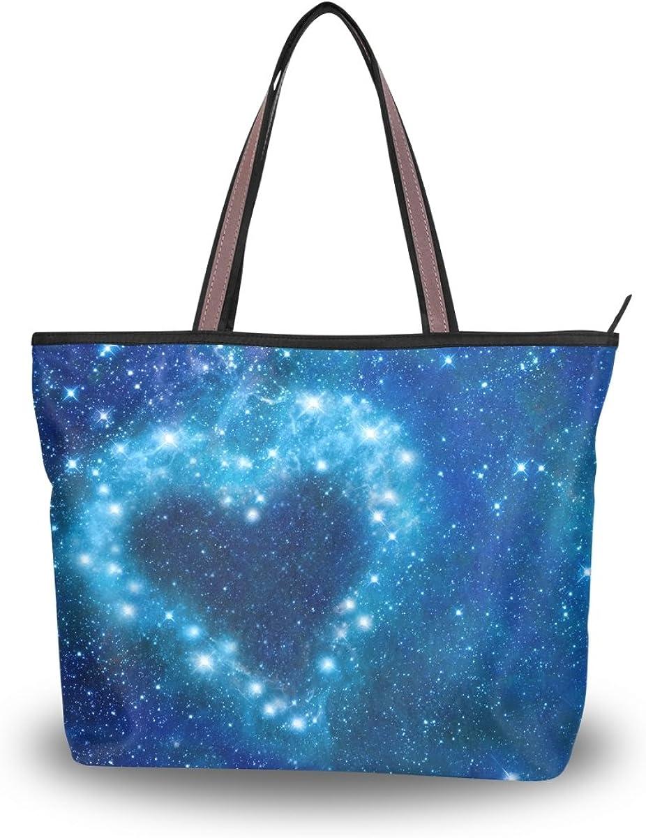 JSTEL Women Large Tote Top Handle Shoulder Bags Stars Heart Romantic Magic Night Patern Ladies Handbag