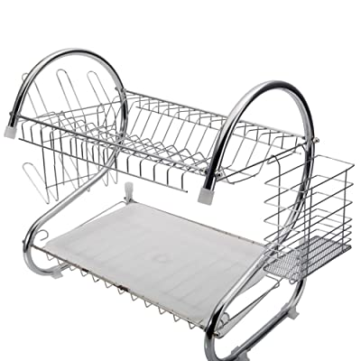 2 Tier Dish Drainer S-Shaped Dish Rack Kitchen ...