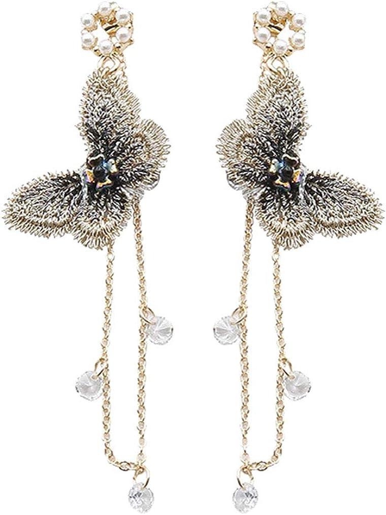 Gold Plated Clip on Earrings Cute Butterfly Dangle Long Chain Tassel Crystal Drop for Girls Women