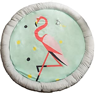 "HugeHug Cartoon Fenced Kids Play Mat for Bed Game Rooms Reading Nook Video Games Tummy Time, Non-Toxic Super-Soft Fluffy Extra-Thick Easy Wash Round 57"" for Girls Boys Gifts Party (Fashion Flamingo)"