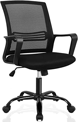 ORVEAY Office Chair Ergonomic Mesh Computer Desk with Lumbar Support Armrest Executive Rolling Swivel Adjustable Mid Back, Black