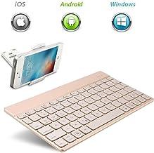 KVAGO - Teclado Bluetooth inalámbrico, retroiluminado con 7 Colores, ultradelgado, portátil, Flexible, Teclado QWERTY, Color Dorado