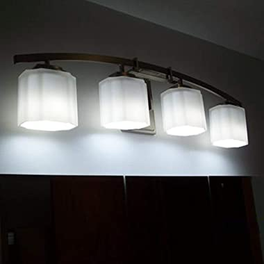 4-Light LED Bathroom Vanity Light Fixture, Modern Sconces Wall Lighting, with White Frosted Glass Shade, Modern Wall Sconce O
