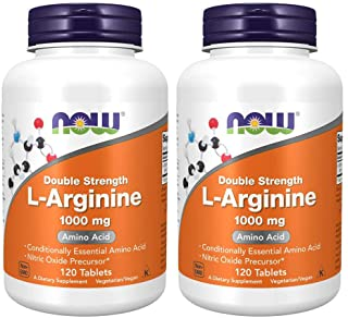 Now Foods, L-Arginine, Double Strength, 1,000 mg, Essential Amino Acid, 120 Tablets, 60 Servings