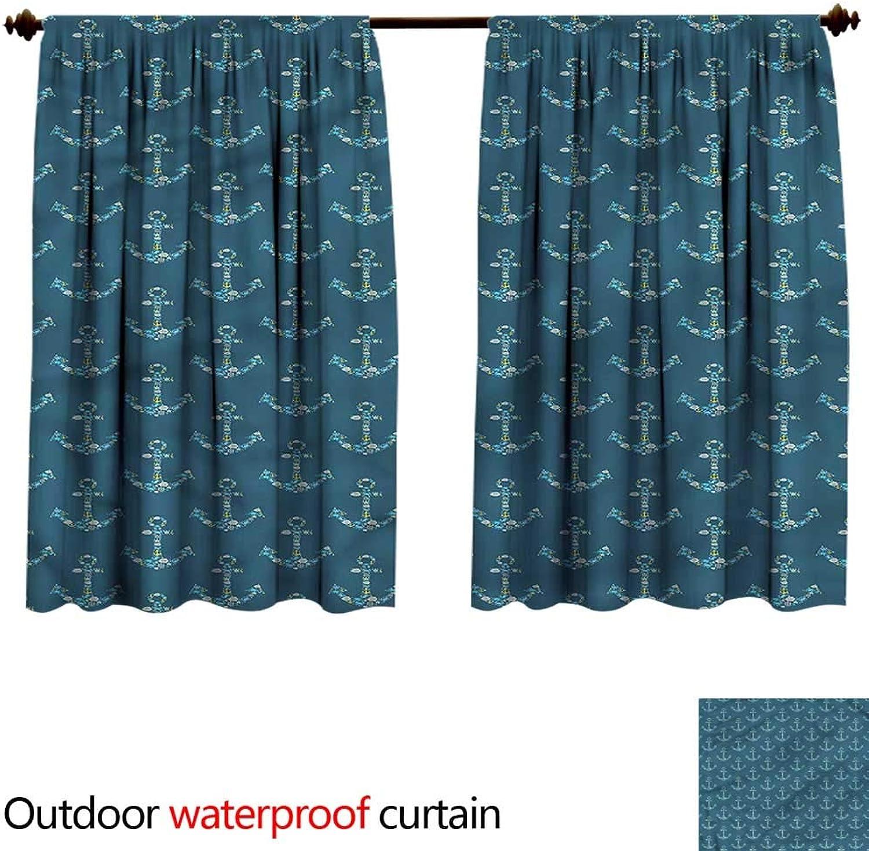 BlountDecor Shade Curtain outdoorAnti-Water W96 x L72(245cm x 184cm) Anchor,Stylized Anchors