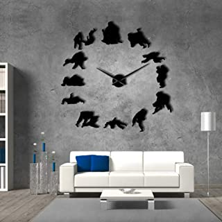 WFUBY Wall Clock Taekwondo Karate Wall Clock Martial Arts Wall Clock Karate Club Modern Wall Decoration Sumo Wrestling Sports Exclusive Wall Clock 47inch