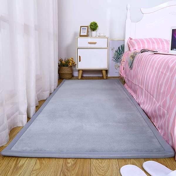 ZYLHC Baby Play Mat Thicken Japanese Coral Velvet Carpet Children Crawl Mat For Living Room Bedroom Foldable Tatami Mat Soft Foam Mat Gray 60x160cm 23x63inch
