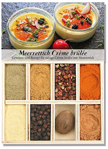 Meerrettich Crème brûlée - 8 Gewürze Set für eine herzhafte Meerrettich Crème brûlée (45g) – mit Rezept und Einkaufsliste – Geschenkidee für Männer und Feinschmecker von Feuer & Glas
