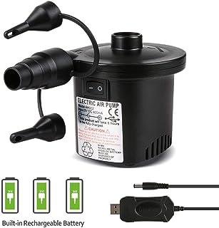 Deeplee Bomba de Aire Eléctrica, Inflador Bateria Recargable de llenado Rápido para Inflar Desinflar, Inflador Colchon Hinchable, 3 Boquillas Incluidas (Adaptador USB: 5V)