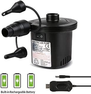 Deeplee Bomba de Aire Eléctrica- Inflador Bateria Recargable de llenado Rápido para Inflar-Desinflar- Inflador Colchon Hinchable- 3 Boquillas Incluidas (Adaptador USB: 5V)