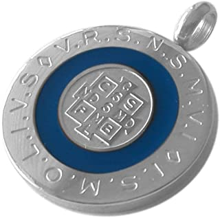 Catholic Saint Benedict Medal Round 28 mm with White Blue or Black Color Enamel - Medalla San Benito St Benedict Medal 1.1 Inches Diam (Blue)