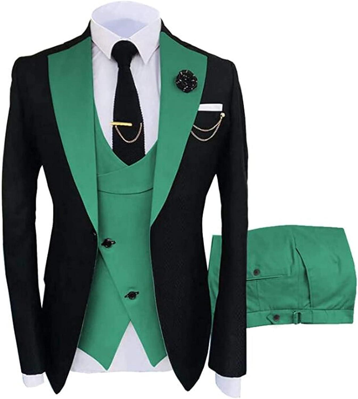 3 Pcs Men Suits One Button (Blazer+Pants+Vest) Wedding Grooms Tuxedo