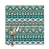 Tribal Aztec Design Geometrical Elements Triages Squares Primitive Pixel Art Placemats for Dining Table,Washable Placemat Set of 4, 12x12 Inch