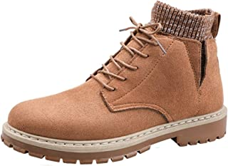 SHENTIANWEI Ankle Boot for Men High Top Work Boots Suede Leather Lace up Stitching Elastic Socks Collar Knit Side Cut Anti-Slip Lug Sole (Color : Brown, Size : 6.5 UK)