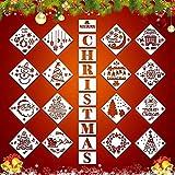 26 Stücke Weihnachten Schablonen, wiederverwendbare Kunststoff Handwerk für Kunst Zeichnung Frohe Weihnachten Ausdruck Vorlage DIY Karte Handwerk Kunst Malerei Spray Glas Holz Airbrush und Wandkunst
