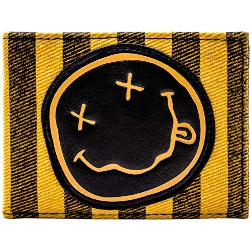 Cartera de Nirvana Clásico Cara Sonriente Grupo Logo Naranja