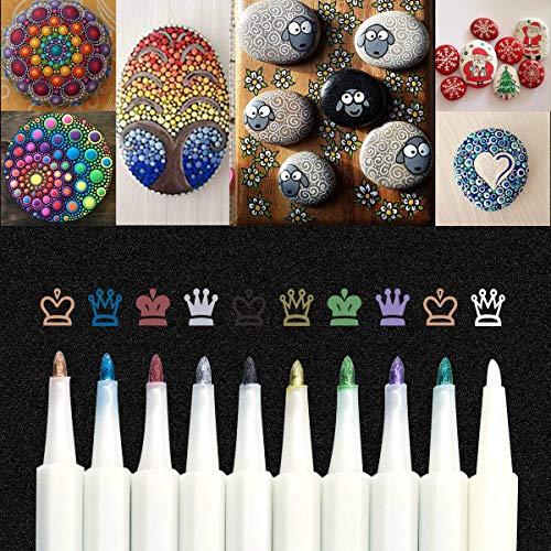 Rotuladores Metálicos, 10 Colores Rotuladores punta Acrylic 1-2mm Tip para Tela,Pintar Piedras,Metal, Madera, Vidrio,Huevo de Pascua,DIY